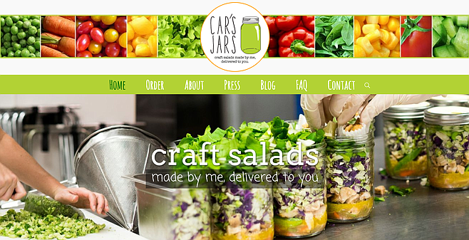 The website of small local food-delivery business Car's Jars