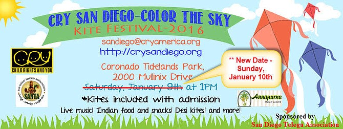 Kite Festival rescheduled to Sunday Jan,10th@ 1pm