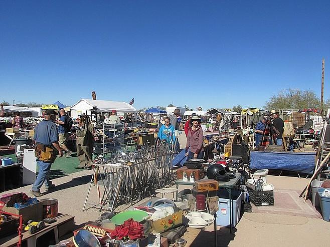 Browsing the acres of swap-meet junk at Quartzite.