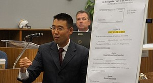 Watanabe speaks to jury during first trial. Photo Bob Weatherston