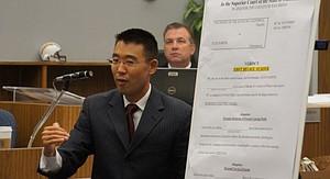Watanabe speaks to jury during first trial. Photo Bob Weatherston