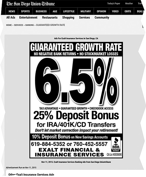Mansueto's U-T ad promises huge returns and looks like a bank ad.