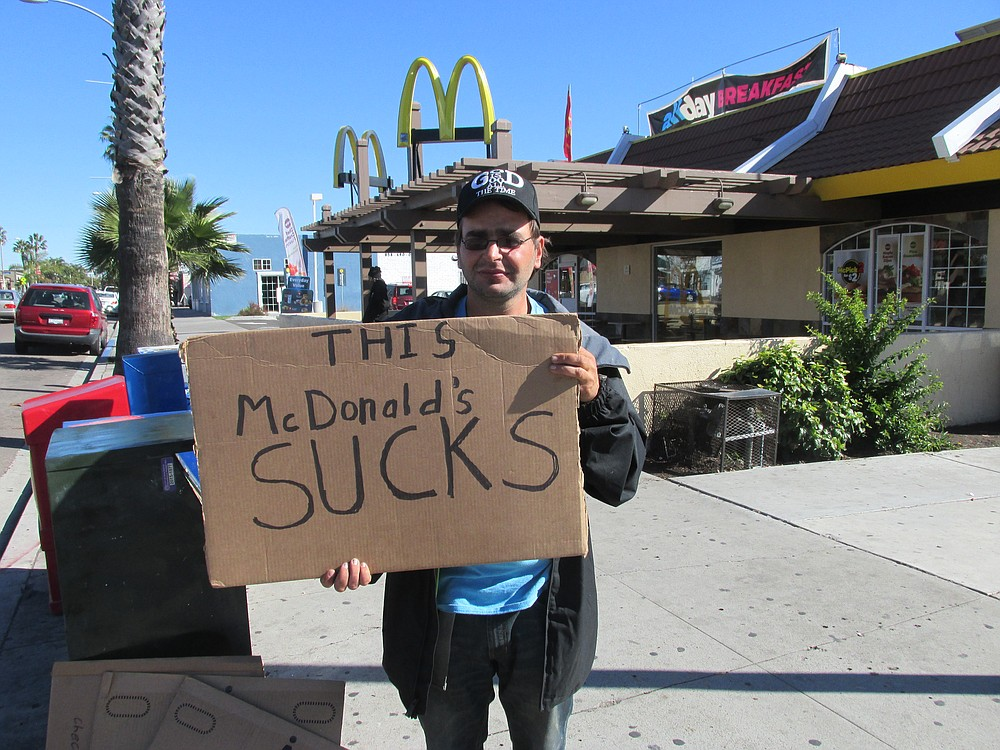 Nate Nicholson again protests the Pacific Beach McDonald's