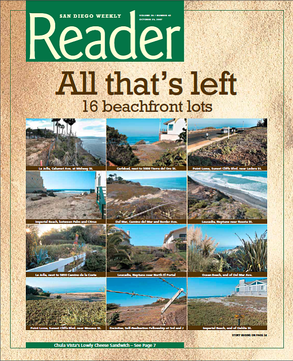 Solana Beach: Vacant Beach Lots in 1982: 6, Vacant Beach Lots in 2007: 0. Del Mar: Vacant Beach Lots in 1982: 10, Vacant Beach Lots in 2007: 1
