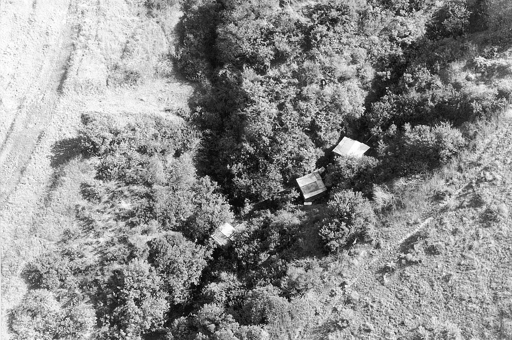Aerial view of strawberry field prostitution site, Carlsbad, a long ditch with cardboard shacks covered in brush named Las Fresas.