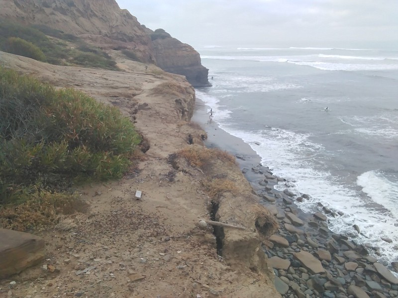 The crack in the bluff is more than 50 feet long.