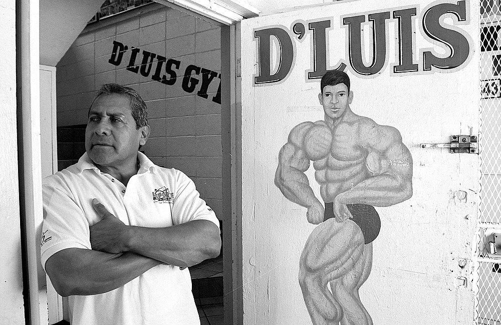 "Luis Ramirez Silva: ""In 1980, I opened the Atlas gym, just one block from here. Now it's out in La Mesa, on Boulevard Diaz Ordaz. I won Mr. Mexico in 1981. We opened this gym, Gimnasio D'Luis, in 1985."""
