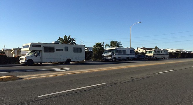 RVs parked on Fourth Avenue in Chula Vista