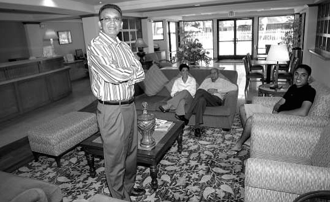 Barry, Hema, Lalbhai, and Arjun Lall. From 1993 to 2000, Naresh and the family saved $40,000. They saved on rent by living in the motel; and, when the whole family works for the family business, labor costs are nil.