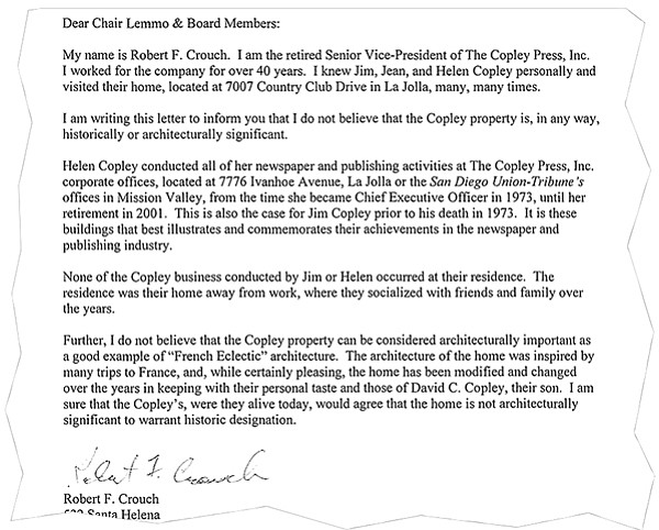 """...I do not believe that the Copley property can be considered architecturally important..."""