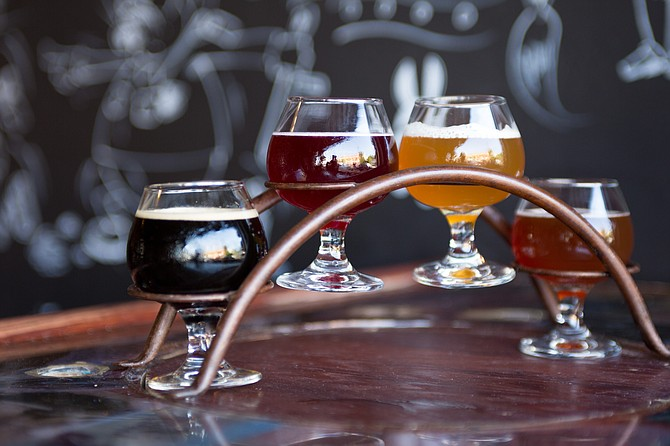 A tasting flight of beer made by independently owned San Diego beer company Border X Brewing.