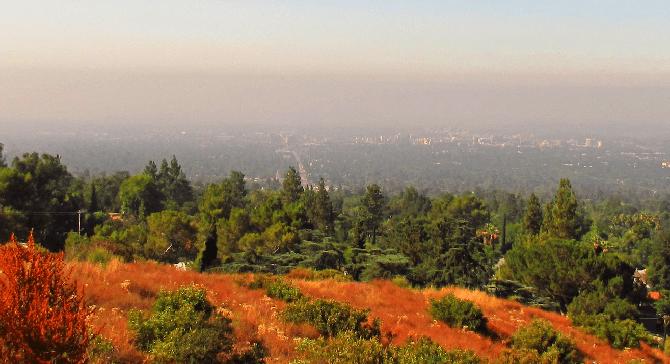 L.A. smog over Altadena, 15 miles northeast in the San Gabriel foothills