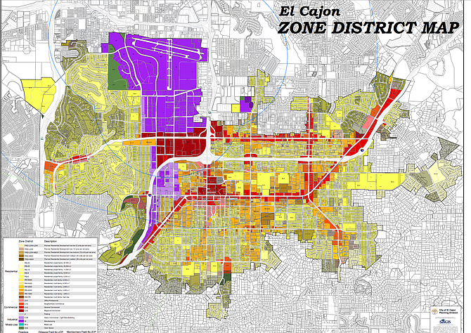 El Cajon allows breweries to operate without a conditional use permit only within its manufacturing zone, seen here in purple.
