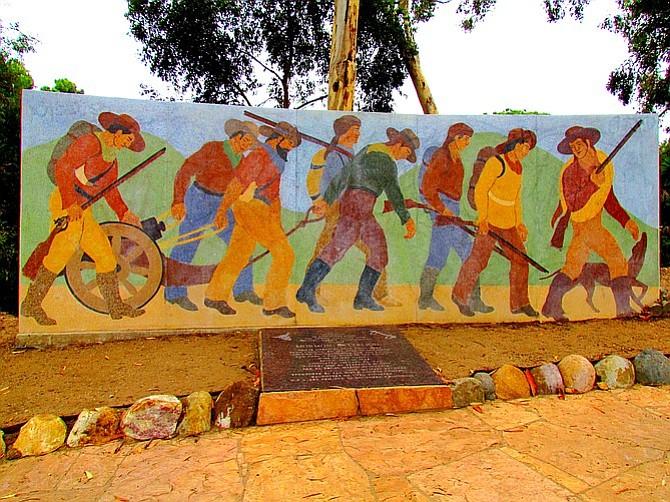 The Mormon Battalion Monument in Presidio Park.