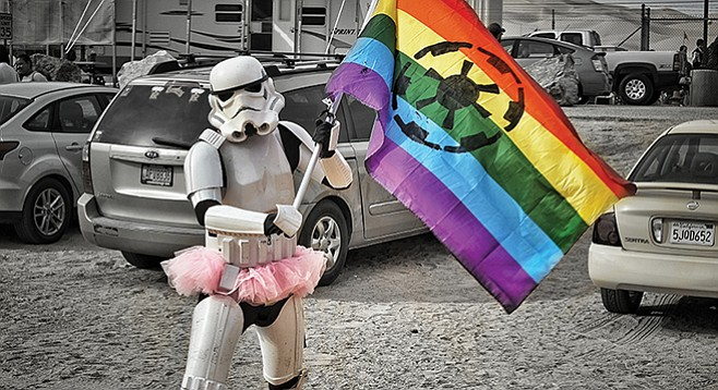 Rainbow trooper seemed to be our only ally in the intergalactic battle to boogie.