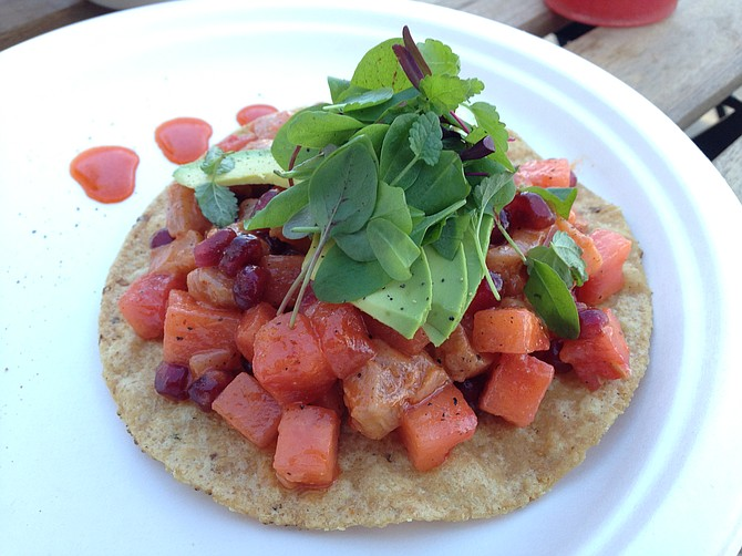 A beautifully wrought ceviche tostada, but it falls apart when you try to eat it