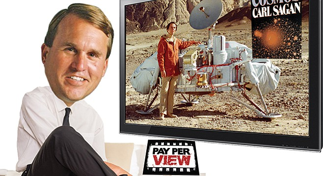 Gwinn earned a reputation for speaking out against the availability of porn and the opinion of Carl Sagan (pictured on TV).
