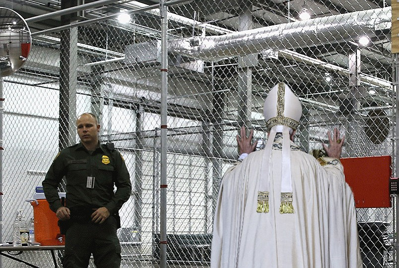 "Papal pat-down: the Supreme pontiff assumes the position at the Otay Mesa immigration detention facility while a guard awaits instructions as to what exactly he is supposed to confiscate. Ultimately, Francis was permitted to keep possession of his Papal Ring, which one source described as ""surprisingly blingy for someone who is such an advocate for the poor. I guess papacy has its perks."" The fancy hat, however, was removed, on the grounds that the gold tassels might been seen as indicating gang affiliation and spark a riot. The vestments he donated to a chilly youth, in keeping with Matthew 25:36: ""I was naked and you clothed me."""