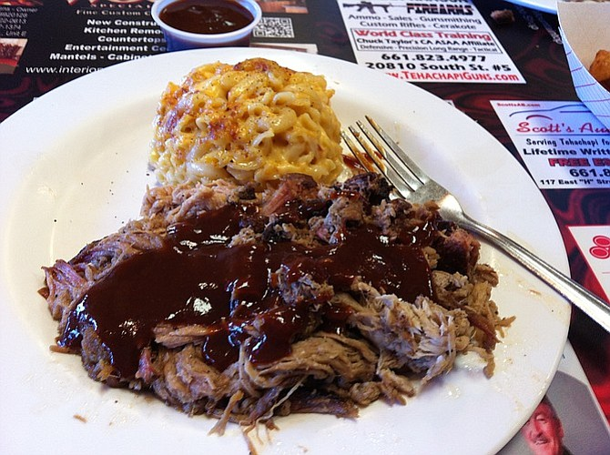 The pulled pork plate with a side of mac n' cheese.