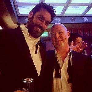 David (right) in his lounge tuxedo