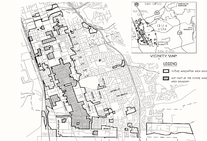 If the proposal is taken up, a sizable portion of western Chula Vista will be subject to deferment of developer impact fees for ten years (excluding the shaded area).
