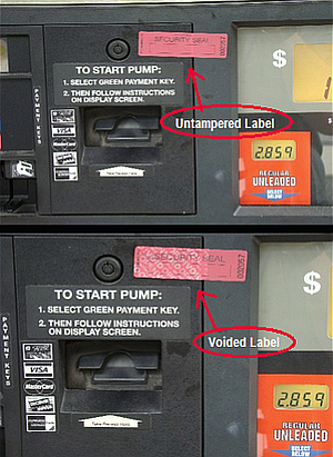 Gas pumps that have been tampered with can be spotted by inspecting the tape