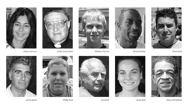 "From top, left: Delmy Horman, Father Louis Solcia, Matthew Warren, Bernard Miller, Shiloh HallFrom bottom, left: Adi Pourfard, Phillip Reed, Joe Fisher, Jamie Hall, and Harry McClellan. ""At first, I didn't know if it was a joke, like in 1984, or if it was real."""