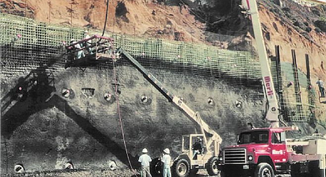 Concrete stabilization of Solana Beach bluffs by the J.C. Baldwin Co.