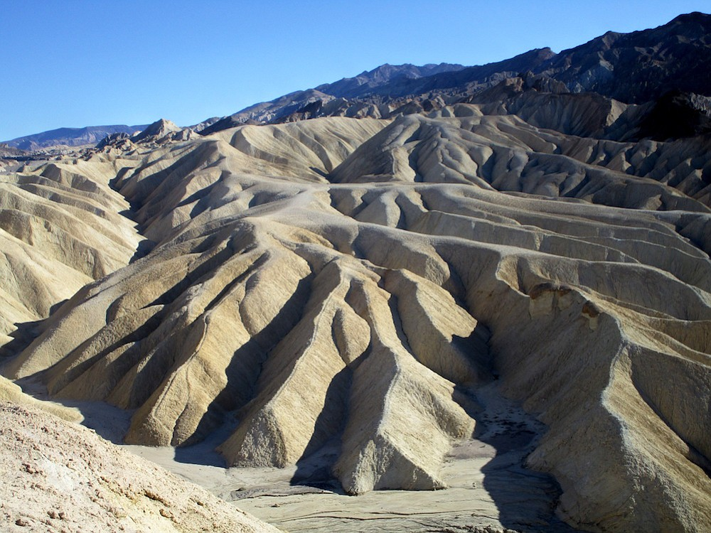 You can hike or drive to this overlook at Zabriskie Point.