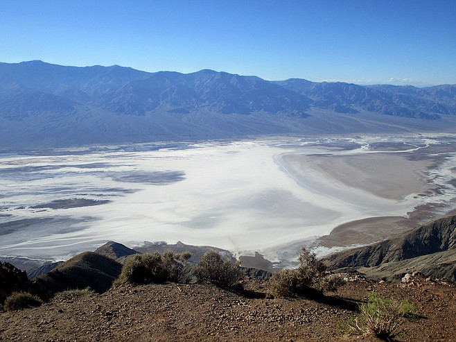 Dante's View offers a panorama of the Death Valley salt flats and beyond.