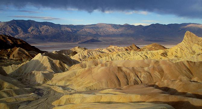 Death Valley badlands and salt flats from Zabriskie Point.