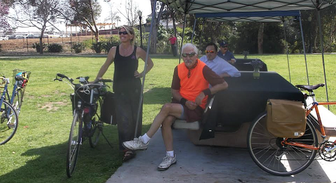 A handful of bicyclists crashed the wonk party