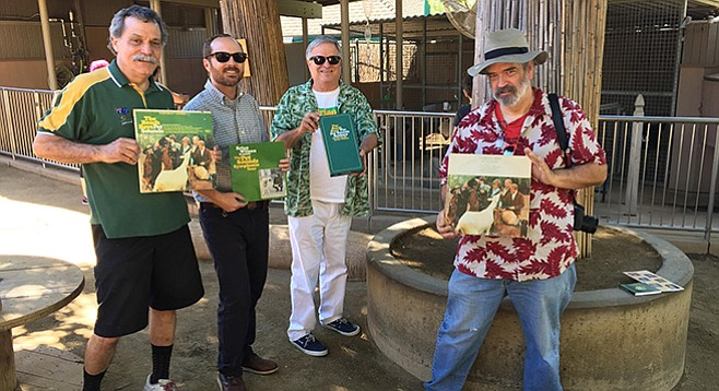 Thorn (third from left) would like to see a plaque commemorating the classic Beach Boys album Pet Sounds at San Diego Zoo.
