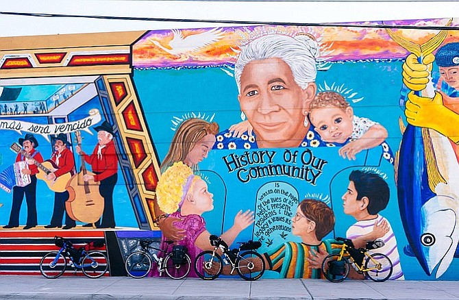 A painted mural by Chicano Park celebrates the community and some of San Diego's history.