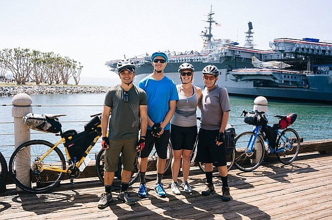 Meeting my new friends at the Harbor as we get ready to set off on a 16-mile ride.