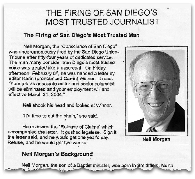 """Neil Morgan press release, 3/31/04. """"Neil has been a close friend and confidant to three generations of Copleys. He helped Jim Copley through a messy divorce."""""""