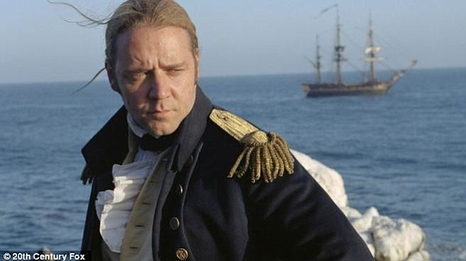 Russell Crowe sporting a British Royal Navy captain dress coat in Master and Commander