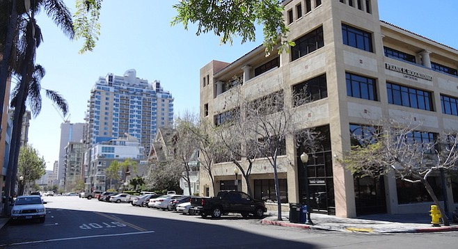 """The school's forced move to 1660 Union Street (foreground) is considered """"ideal"""" due to its proximity to Vantaggio Suites, where a number of foreign students reside"""
