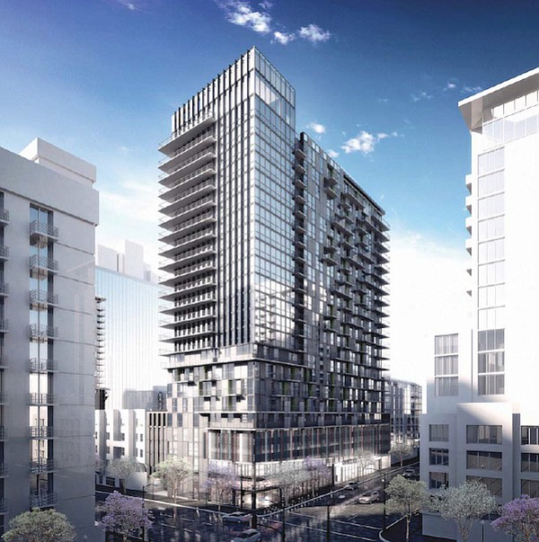 Little italy n area of luxury high rise apartments san diego architectural rendering of 520 w ash apartment building reheart Choice Image