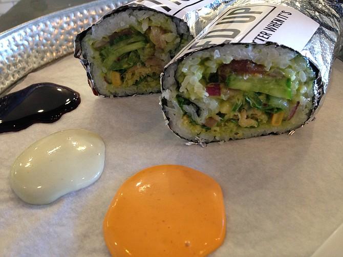 Sushi roll — half hamachi, half ahi, both with Thai ginger guacamole