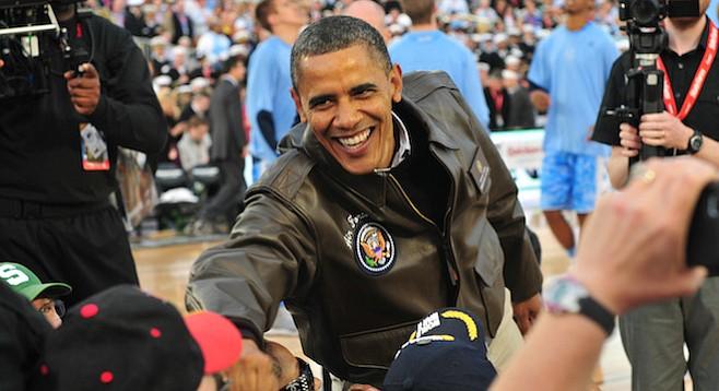 President Obama in San Diego on U.S.S. Carl Vinson at North Island, 2011