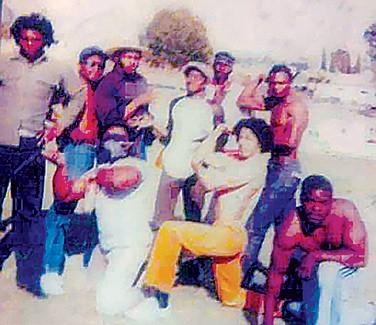 Curtis (far left, beige shirt) with original Neighborhood Crips 1982