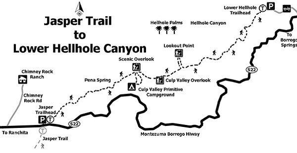 Map: Jasper Trail to Lower Hellhole Canyon
