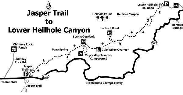 Map: Jasper Trail to Lower Hellhole Canyon