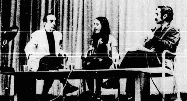"Vincent Minnelli (left) in Copley Auditorium discussion: ""It's all intuitive."""