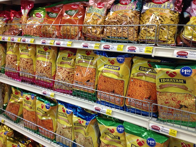 Namkeen, salty snacks done Indian style. You won't find any Doritos in this aisle.
