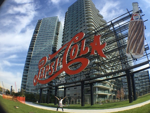 Long Island City Pepsi Cola sign in Gantry State Park , Queens New York.   120 feet long and 60 feet high, the Pepsi-Cola sign was constructed in 1936 and is on its way to becoming a landmark.    -Marilyn Kelly (Miles of Moxie)  milesofmoxie@gmail.com