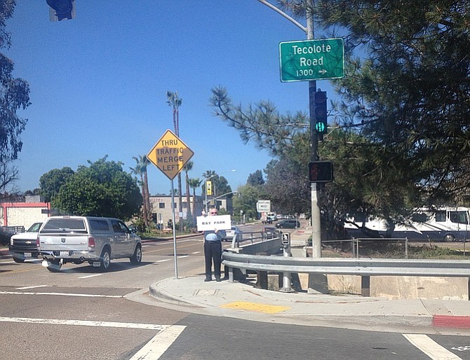 Dave Potter at Morena Boulevard and Tecolote Road intersection, where a Bay Park sign will go up around June 2016