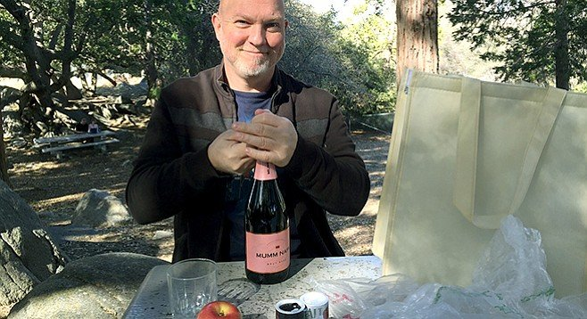David pops a little bubbly at 6000 feet