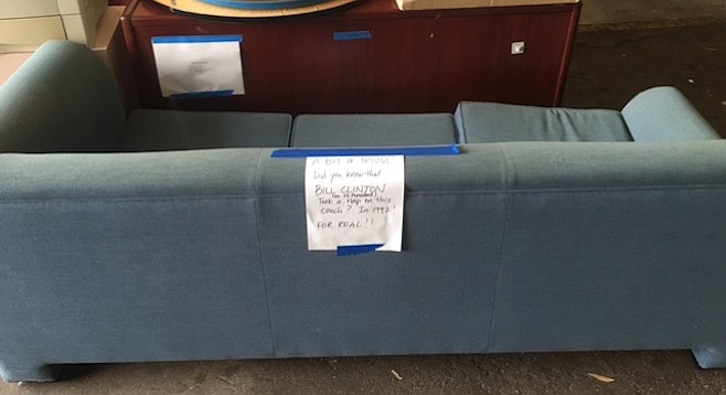 UCSD's surplus sales and disposal unit makes the next move with the couch.